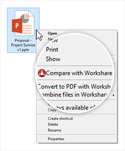 "Right-click a PowerPoint and select ""Compare with Workshare"""
